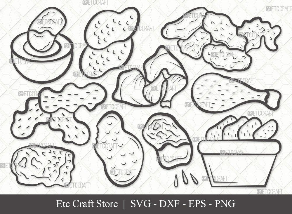 Chicken Nuggets Outline SVG Cut File