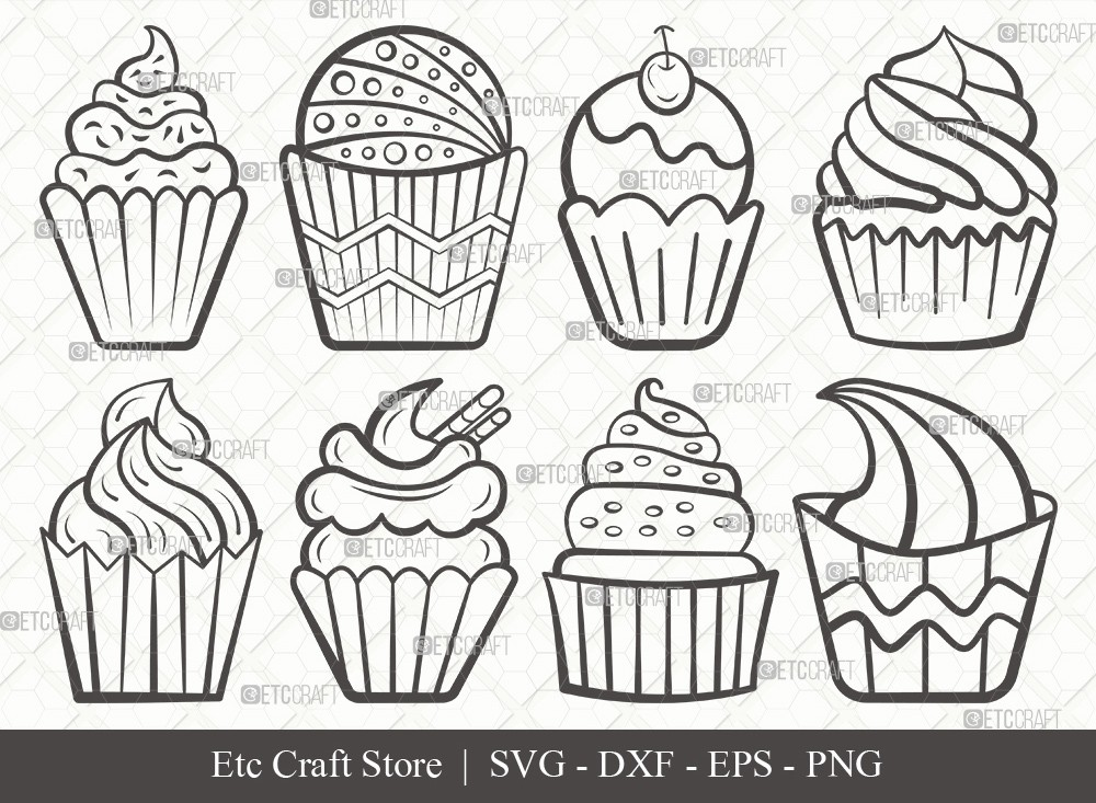 Cupcake Outline SVG Cut File | Sweet Cupcake Svg