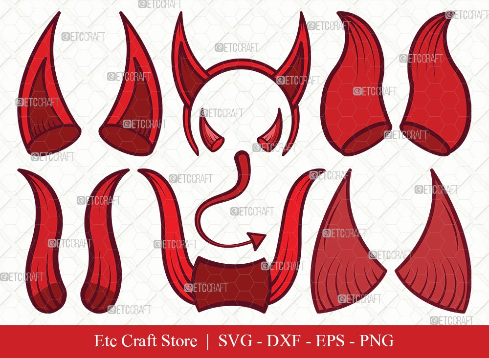 Devil Horns Clipart SVG Cut File | Devil Tail SVG