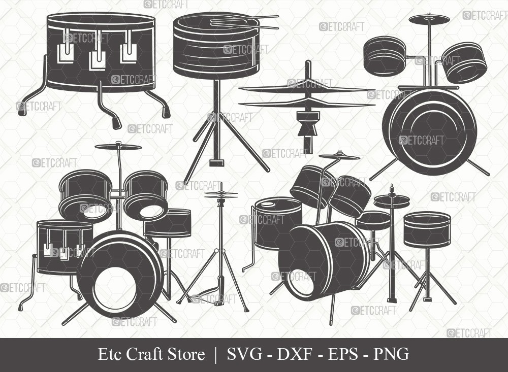 Drum Set Silhouette SVG Cut File | Music Svg
