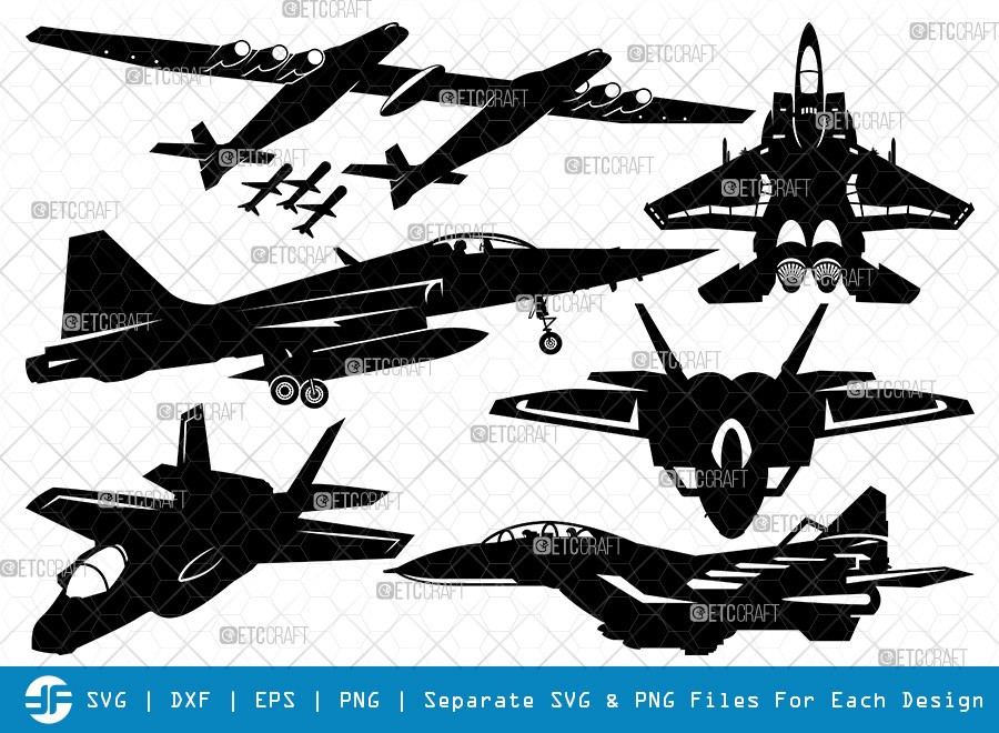 Fighter Aircraft SVG Cut Files | Jet Biman Silhouette
