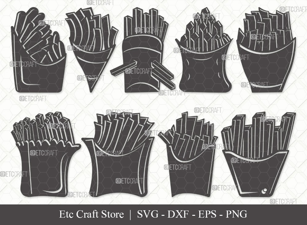 French Fries Silhouette SVG Cut File | Fries Svg