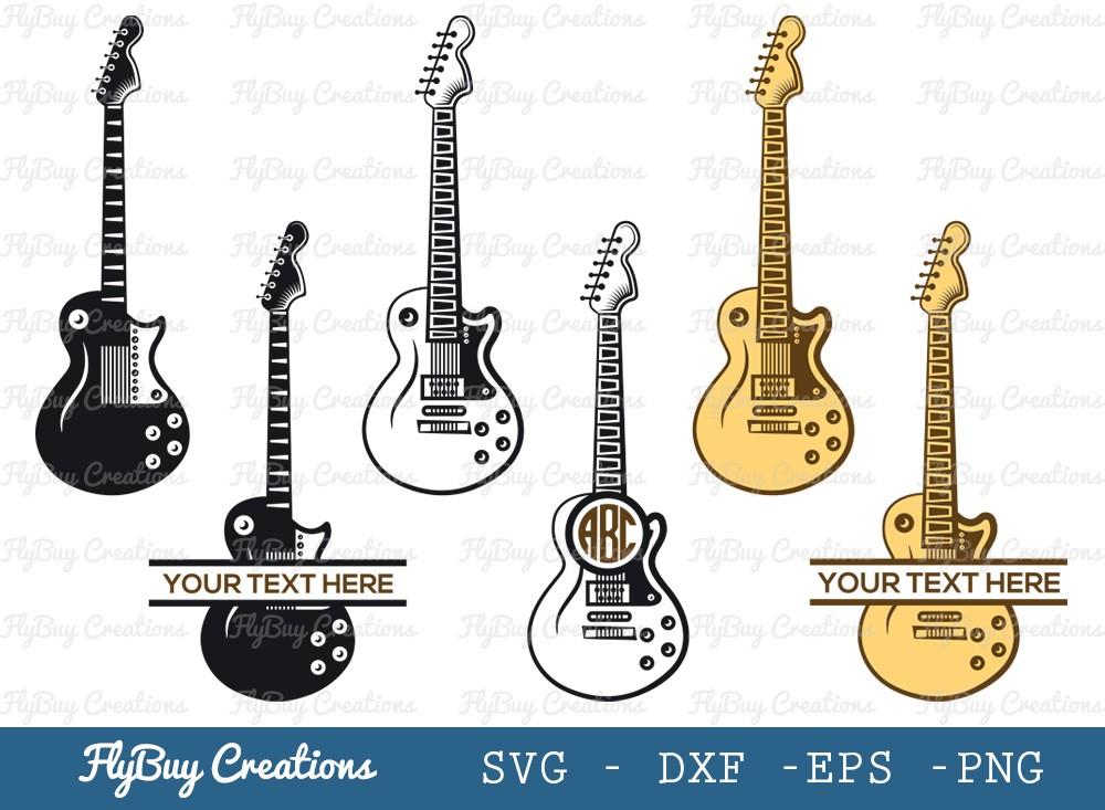 Guitar Monogram SVG Cut File | Guitar Svg
