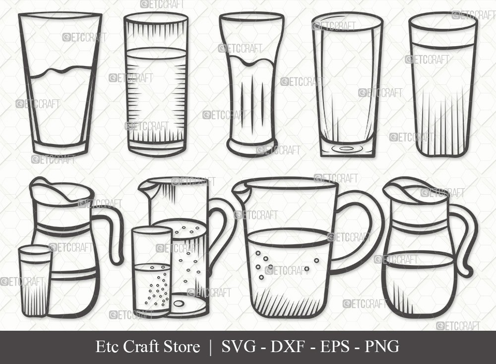 Jug With Glass Outline SVG Cut File