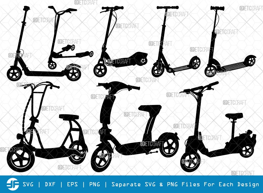 Kick Scooter SVG Cut Files | Stepper Scooter Silhouette
