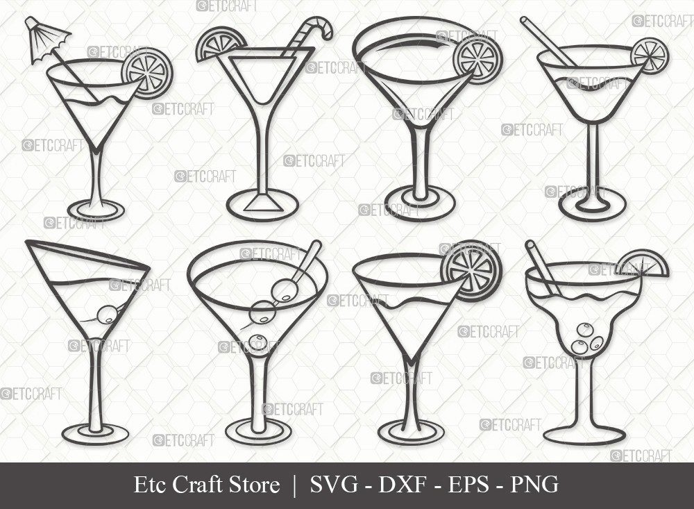 Martini Glass Outline SVG Cut File