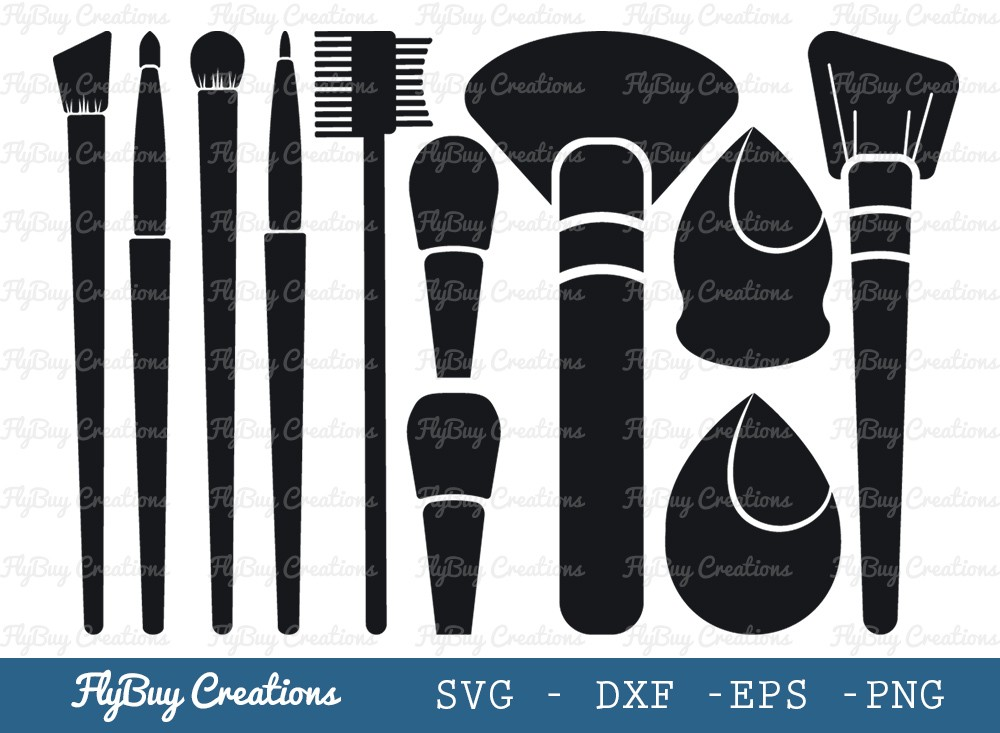 Makeup Brush Set SVG Cut File | Makeup Set
