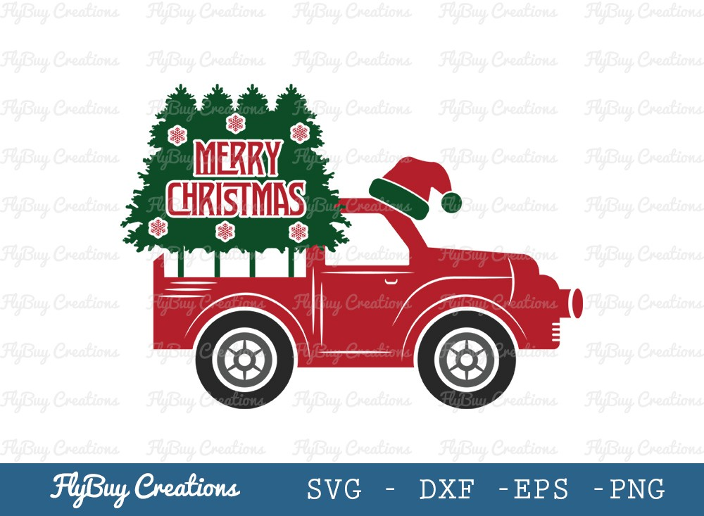 Merry Christmas Truck SVG Cut File