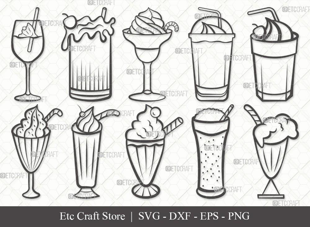 Milkshake Outline SVG Cut File | Drink Shake Svg