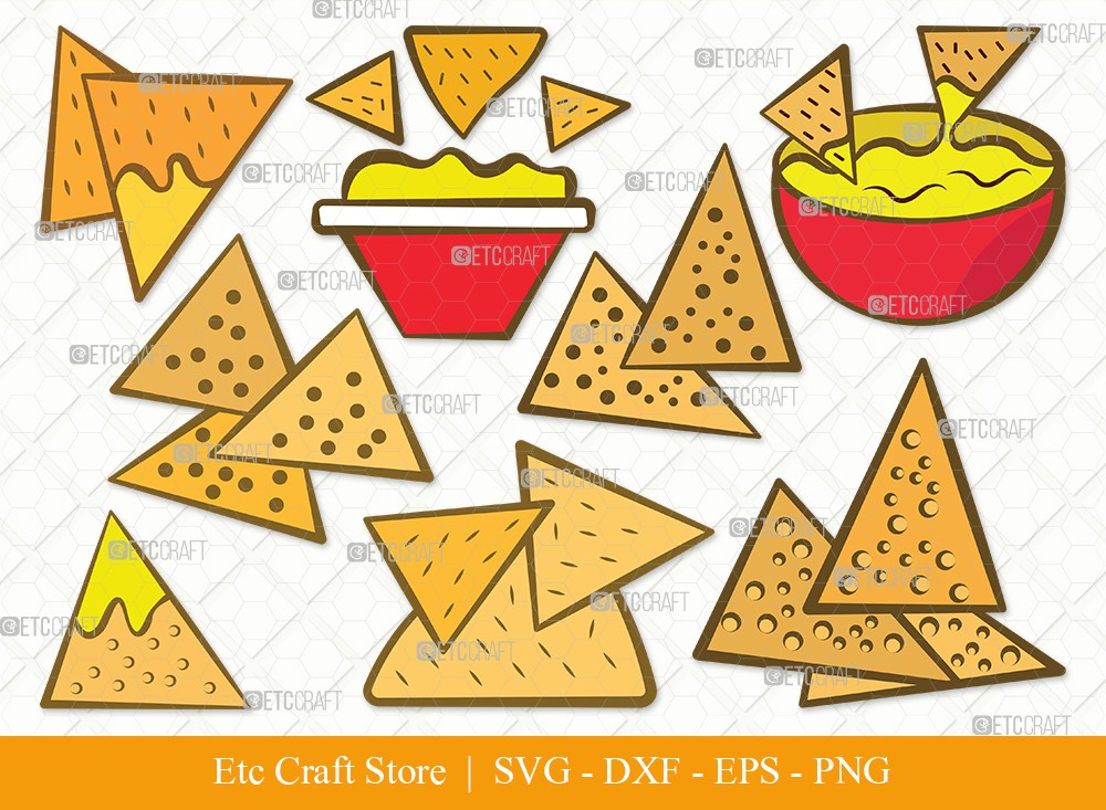Nachos Clipart SVG Cut File | Nacho With Cheese Svg