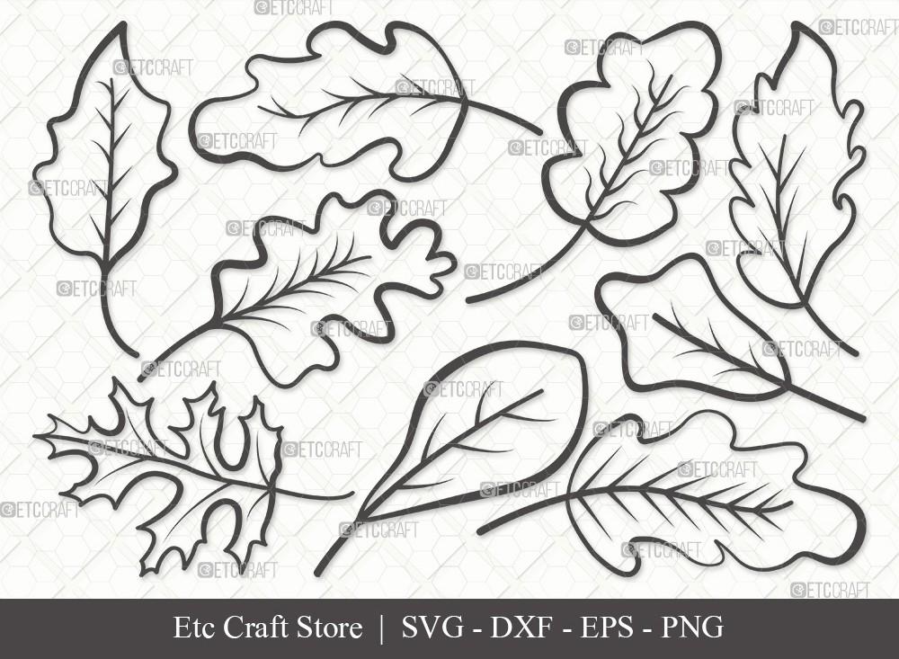 Oak Leaves Outline SVG Cut File | Oak Leaves Svg