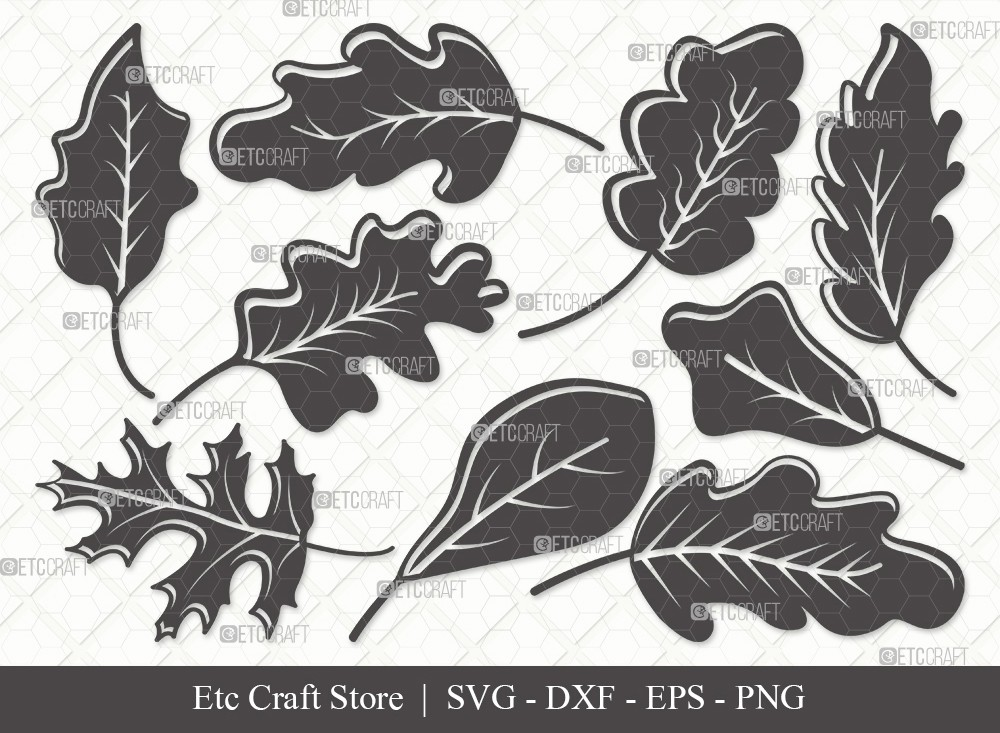 Oak Leaves Silhouette SVG Cut File | Oak Leaves Svg