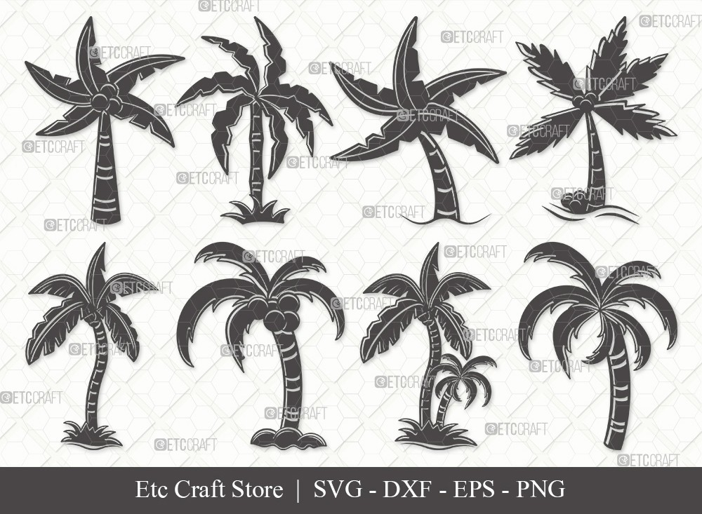 Palm Tree Silhouette SVG Cut File | Palm Svg