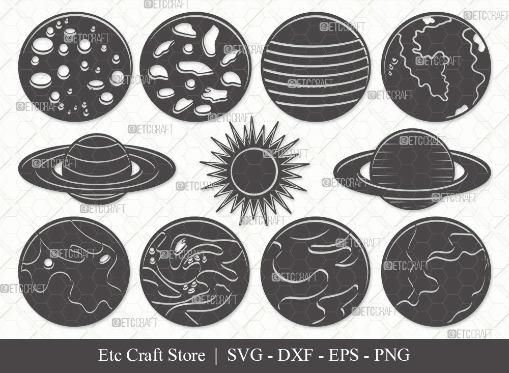 Planet Silhouette SVG Cut File | Earth Svg