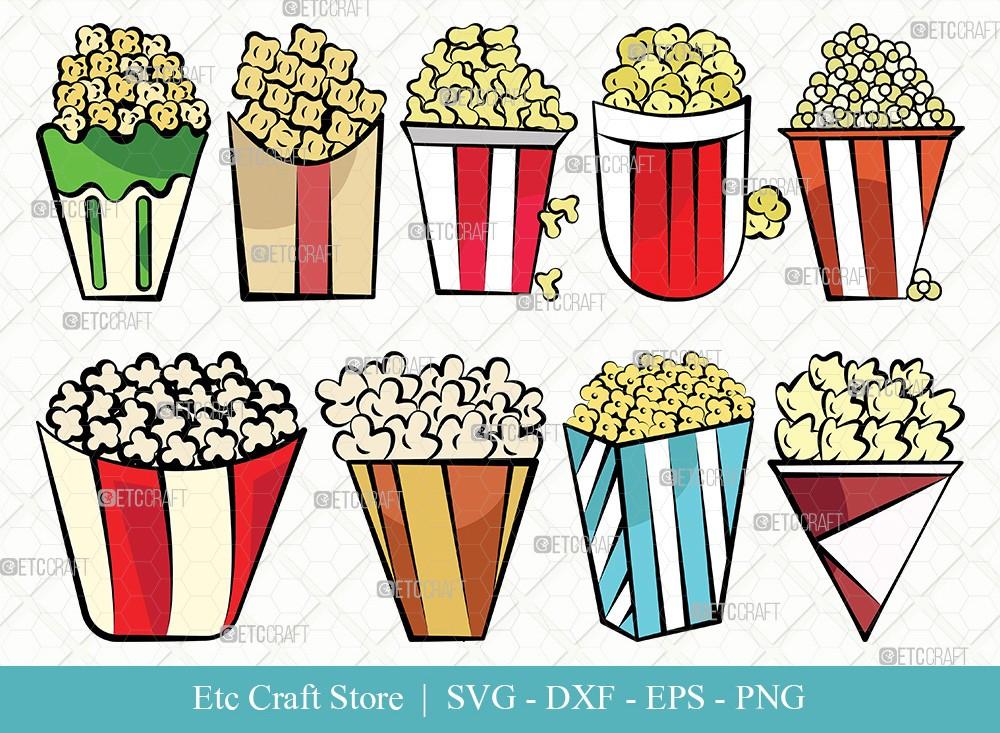 Popcorn Clipart SVG Cut File | Popcorn Svg
