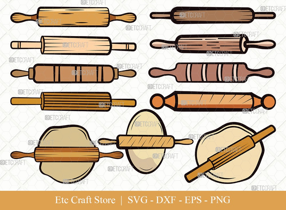Rolling Pin Clipart SVG Cut File | Kitchen Svg