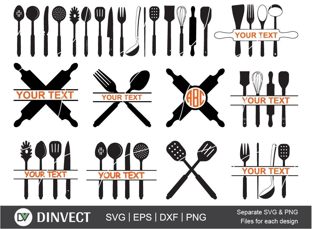 Utensils SVG, Spoon svg, Kitchen svg, Kitchen Monogram