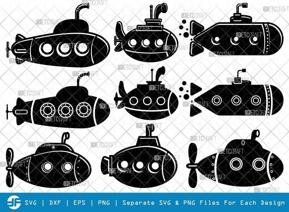 Submarine SVG Cut Files | Navy Silhouette