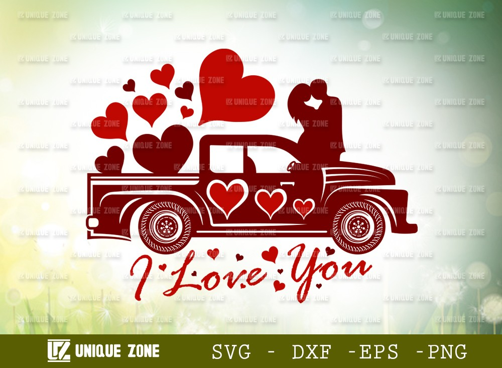 I Love You With Truck SVG Cut File | Love Svg