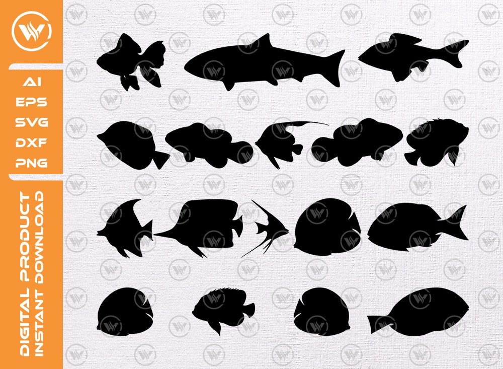 Aquarium Fish SVG | Fish Silhouette | Fish Icon SVG Cut File