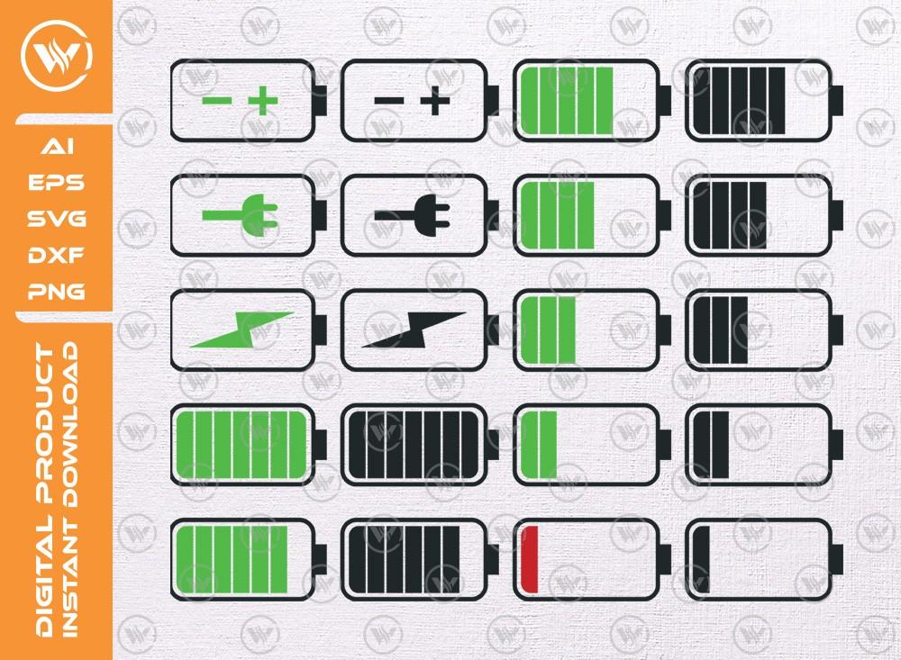Battery SVG | Battery levels SVG | Battery icon SVG Cut File