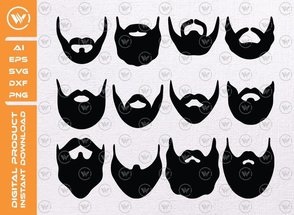 Beard SVG | Beard Silhouette | Beard Icon SVG Cut File