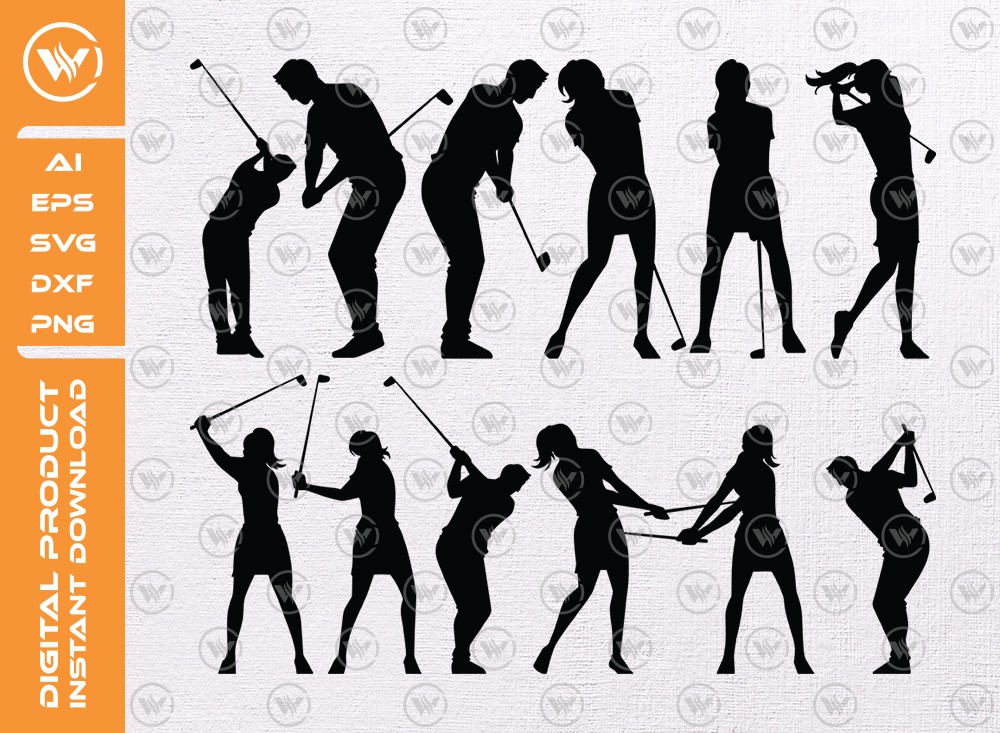 Golf Man Woman SVG | Golf  Player Silhouette