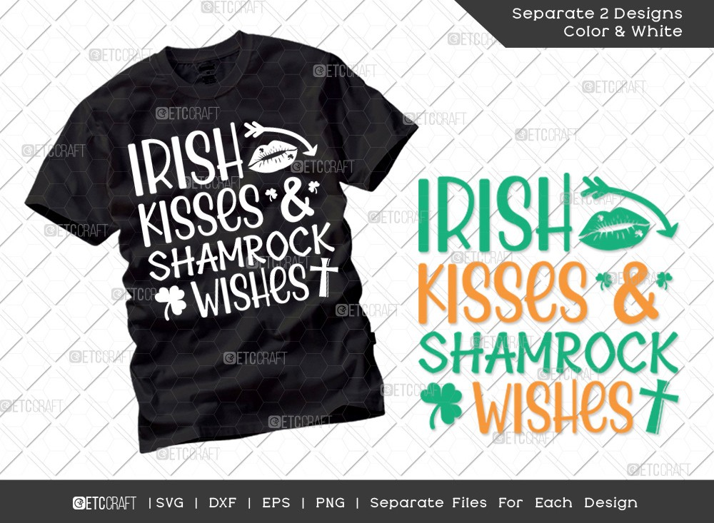 Irish Kisses Shamrock Wishes SVG Cut File | St Patricks Day Svg