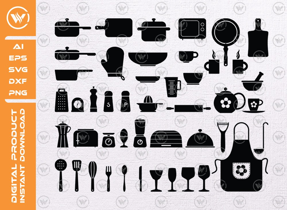 Kitchen SVG | Kitchen Silhouette | Kitchen Icon SVG Cut File