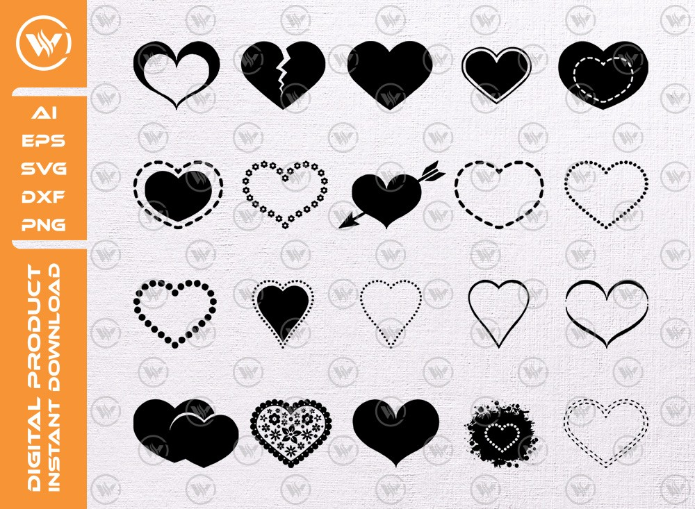Love heart vector icons set SVG | Love heart SVG | heart icon cut file