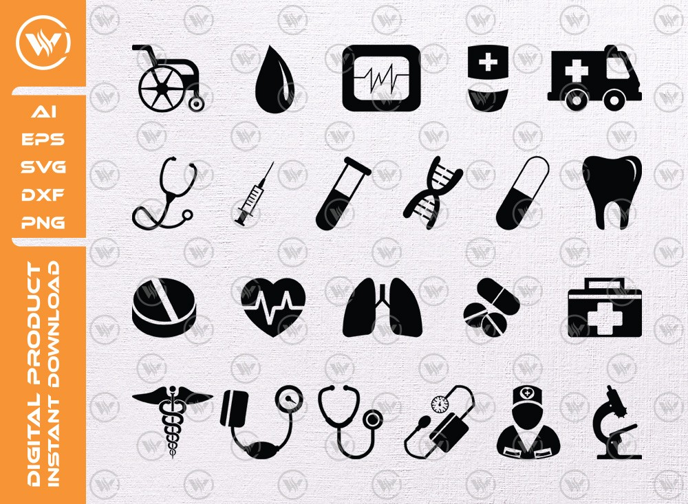 Medical SVG | Medical Silhouette | Medical Icon SVG Cut File