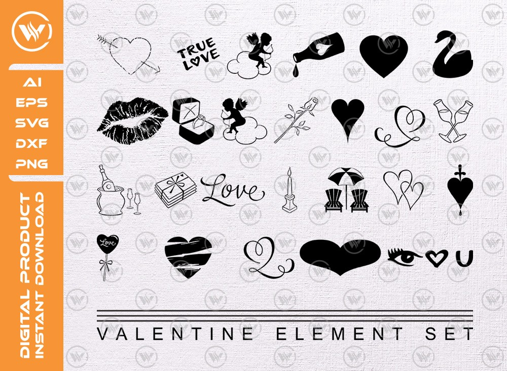 Valentine element set SVG | Valentine element Silhouette