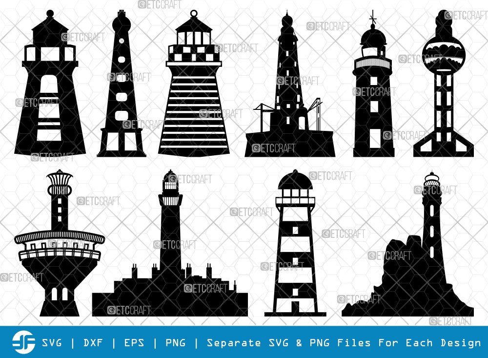 Lighthouses SVG Cut Files | Lighthouses Silhouette