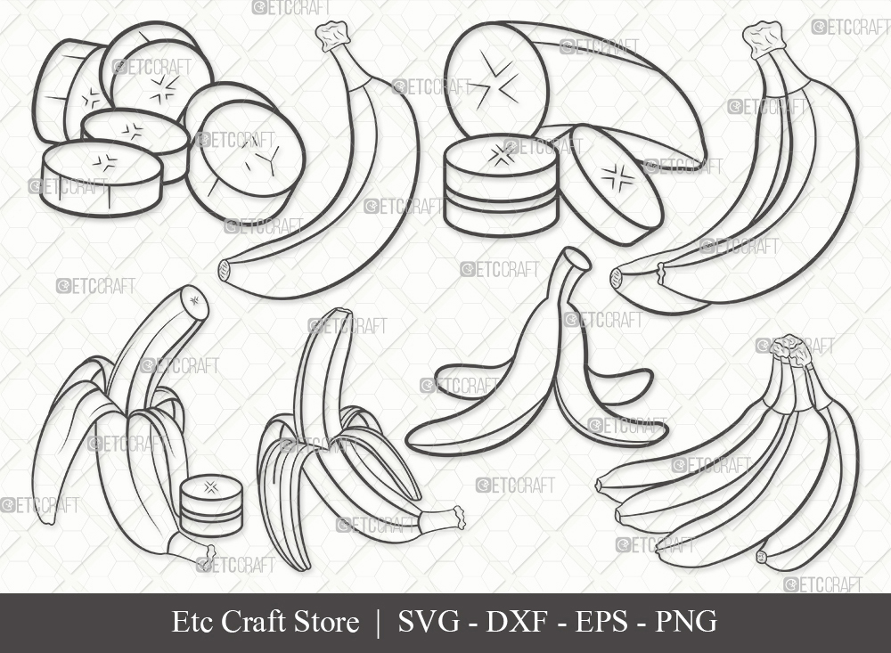 Banana Outline SVG Cut File | Fruits Svg