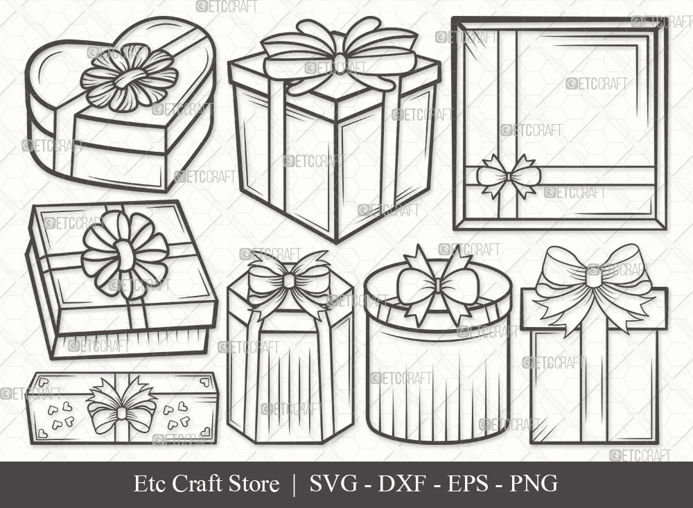 Gift Box Outline SVG Cut File | Christmas Gift Svg