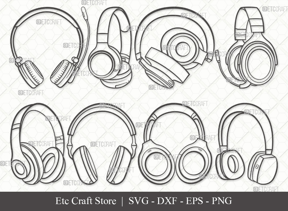 Headphone Outline SVG | Audio Headset Svg