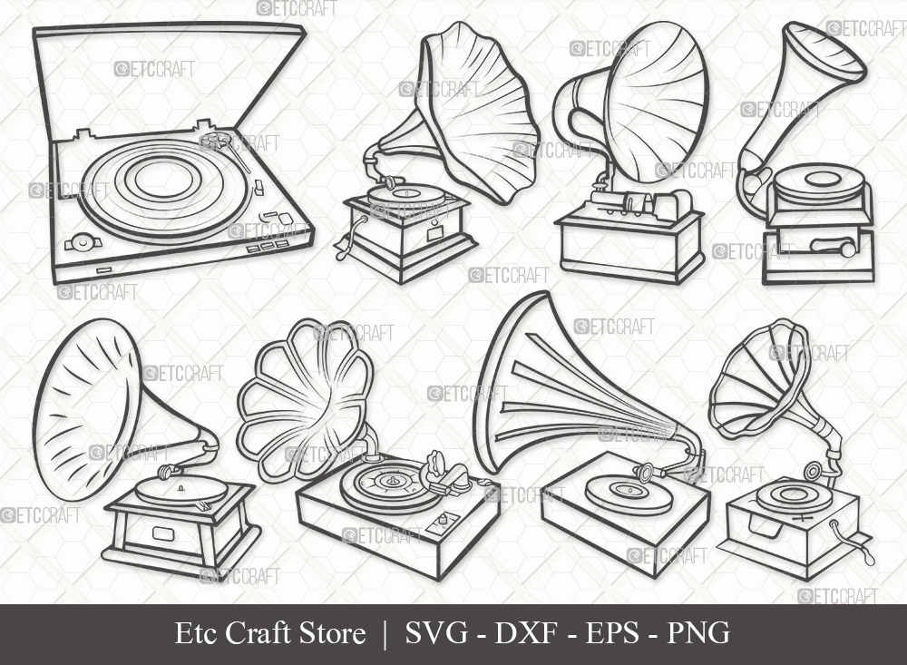 Phonograph Outline SVG | Record Player Svg
