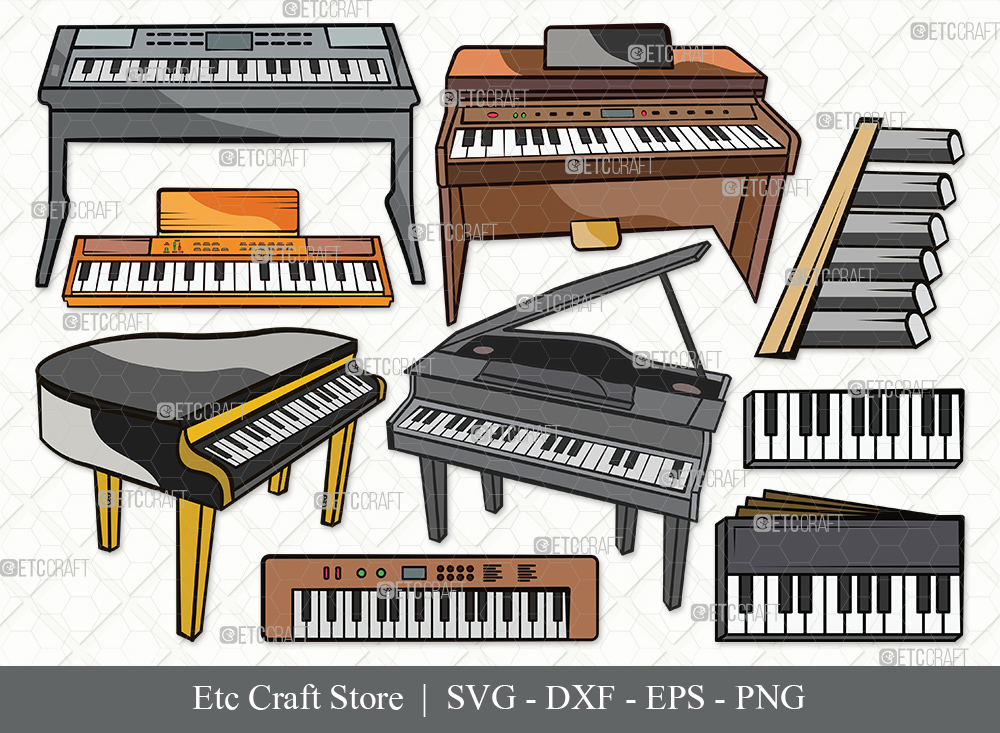 Piano Clipart SVG Cut File | Synth Svg