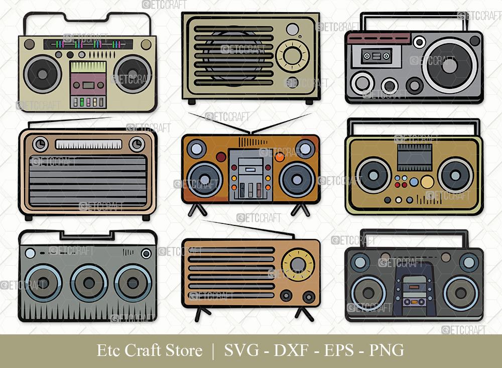 Radio Boombox Clipart SVG Cut File | Radio Svg