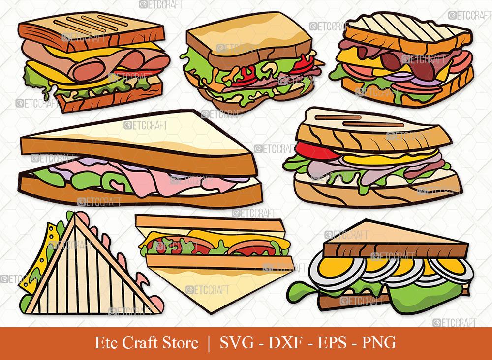 Sandwich Clipart SVG Cut File | Food Svg