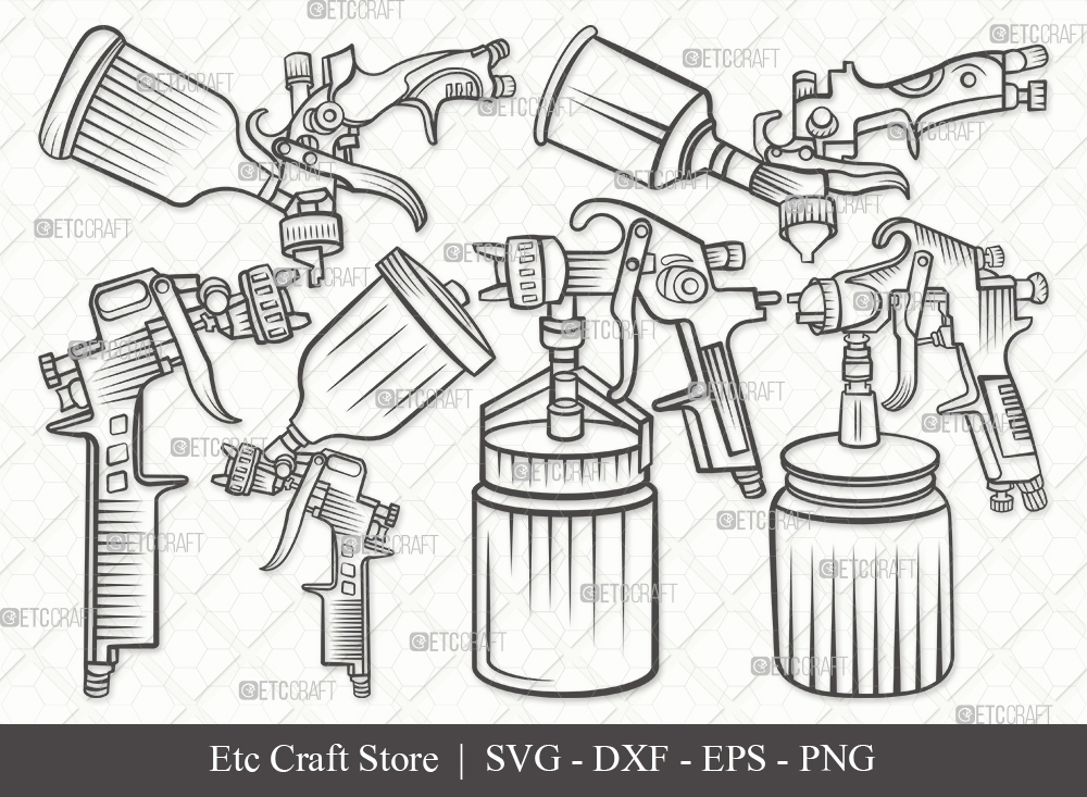 Spray Gun Outline SVG | Paint Spray Gun Svg