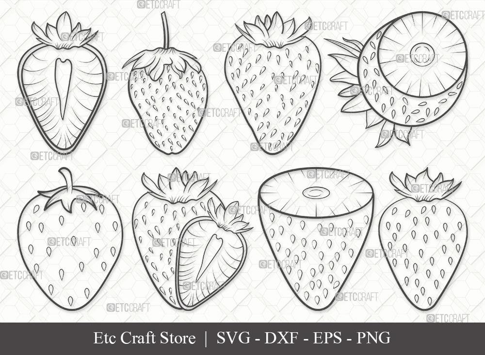Strawberry Outline SVG Cut File | Fruit Svg
