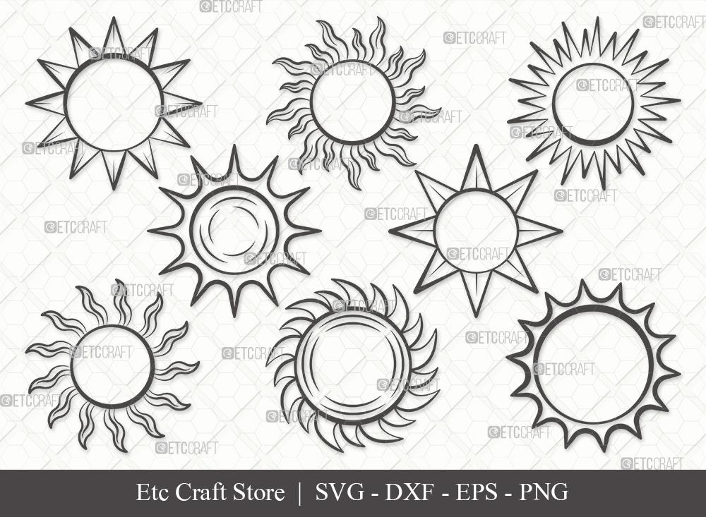 Sun Outline SVG Cut File | Sunshine Svg