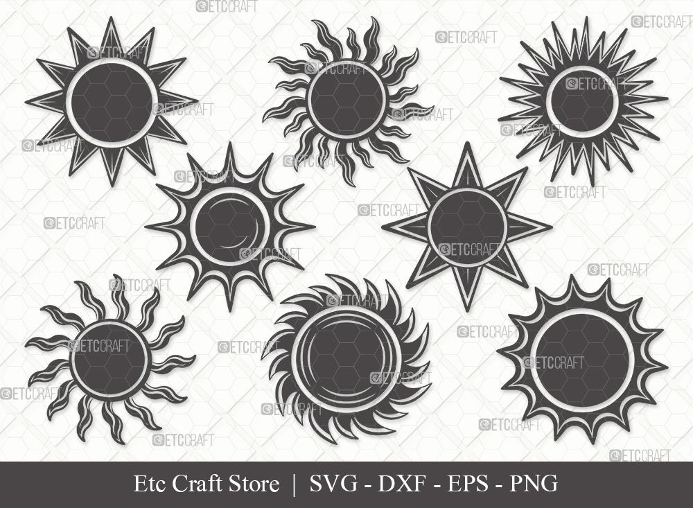 Sun Silhouette SVG Cut File | Sunshine Svg