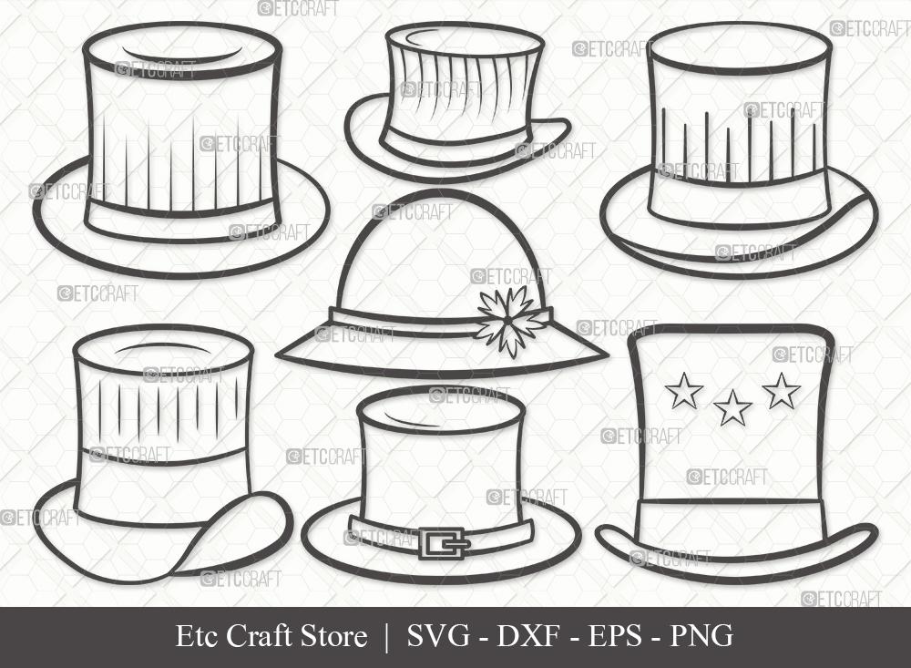 Top Hat Outline SVG Cut File | Party Hat Svg