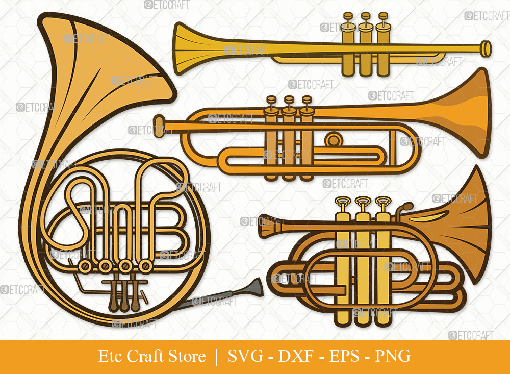 Trumpet Clipart SVG Cut File | French Horn Svg