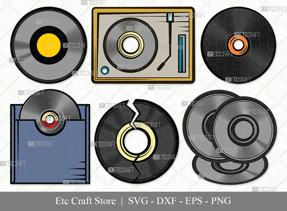Vinyl Record Clipart SVG Cut File | Vinyl Disc Svg
