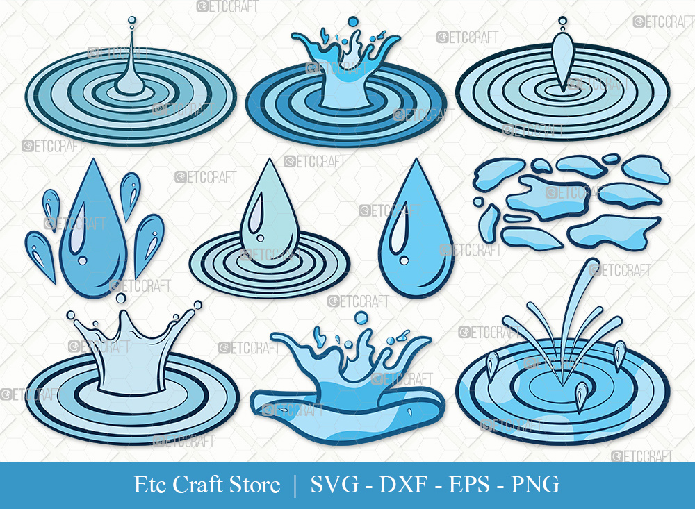 Water Droplets Clipart SVG Cut File | Drop Svg