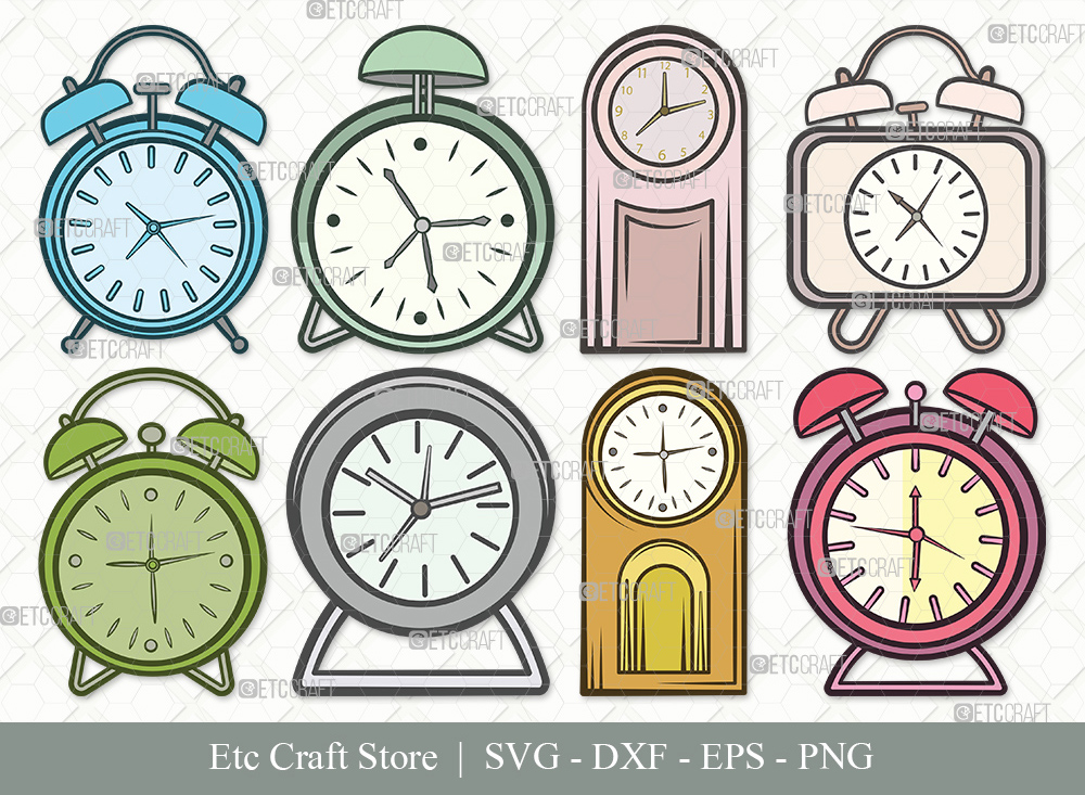 Alarm Clock Clipart SVG Cut File | Time Svg