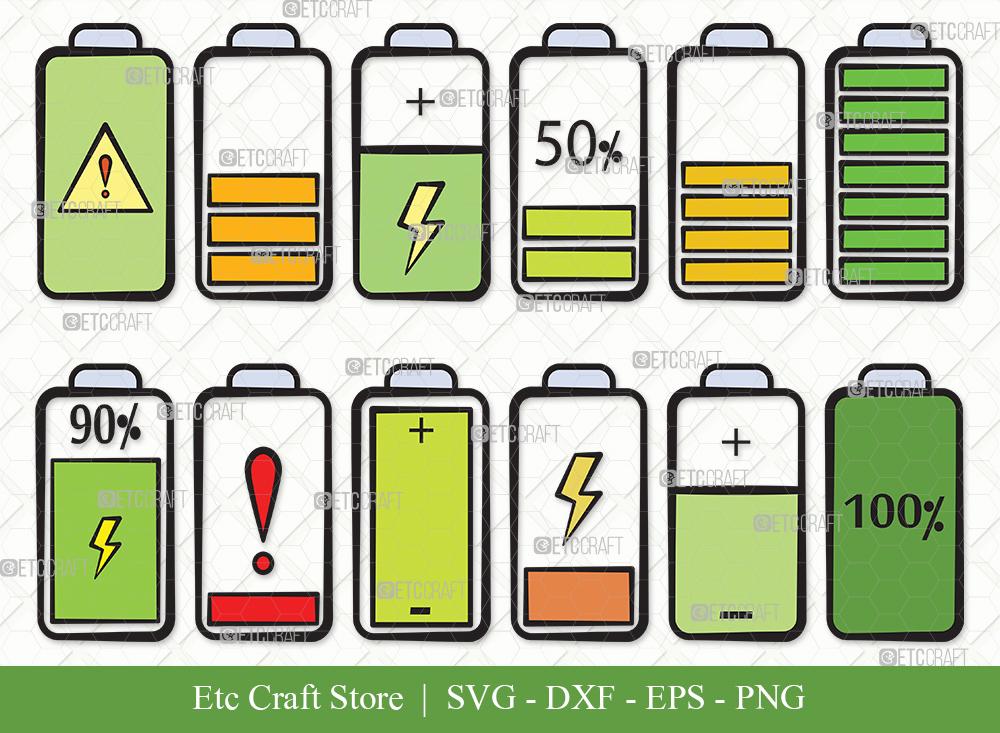 Battery Clipart SVG Cut File | Battery Bundle